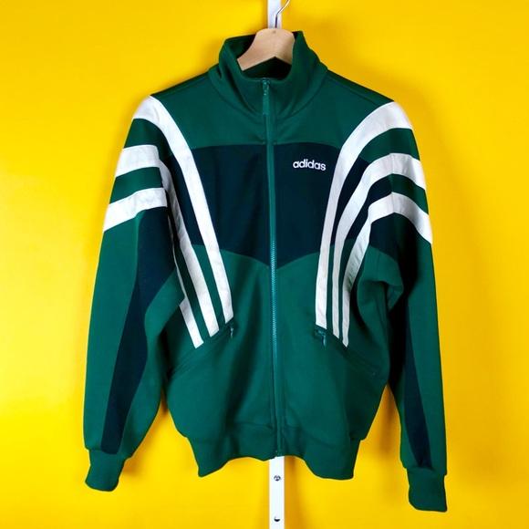 Adidas Sports Track Jacket Up Green White Zip WDY29IHE